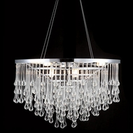 Avenue Lighting HF1808-PN Hollywood Blvd. Modern Polish Nickel / Clear Glass Tear Drops Halogen 18  Hanging Pendant Lighting
