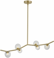 Avenue Lighting HF4806-CLR Hampton Contemporary Brushed Brass Halogen 40  Kitchen Island Light