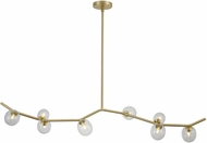 Avenue Lighting HF4808-CLR Hampton Modern Brushed Brass Halogen 61  Kitchen Island Light Fixture