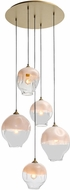 Avenue Lighting HF8145-BB-WH Sonoma Ave. Modern Brushed Brass Multi Hanging Light Fixture