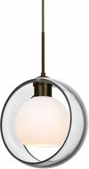Besa 1JT-MANACL-LED-BR Mana Modern Bronze Clear/Opal LED Mini Ceiling Pendant Light