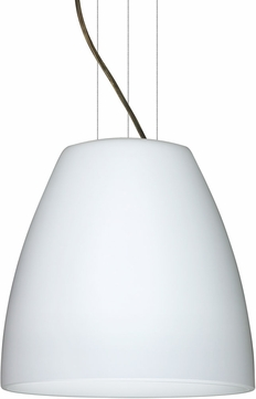 Besa 1KG-BELL1607-LED-BR Bella Contemporary Bronze Opal Matte LED 16  Pendant Hanging Light