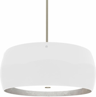 Besa 1KT-POGOSF-LED-SN Pogo Contemporary Satin Nickel White/Inner Silver Foil LED Ceiling Light Pendant