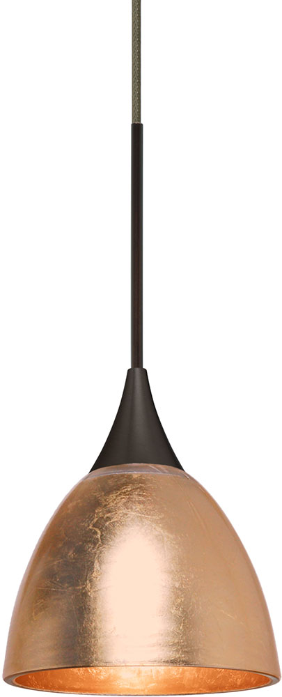Besa 1xt 1758cf Led Br Divi Contemporary Bronze Copper Foil Mini Pendant Loading Zoom