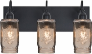 Besa 3WG-MILO4SM-BK Milo Black 3-Light Bathroom Lighting Fixture