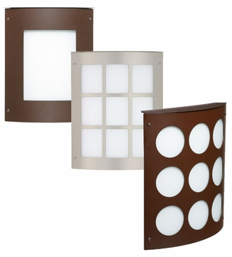 Besa Moto 8 Small Indoor/Outdoor Wall Sconce with Grid, Square, or Circle Design