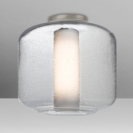 Besa NILES10COC-SN Niles Modern Satin Nickel Clear Bubble/Opal Ceiling Light