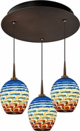 Bruck 240010BZ-3-ELV-223341BZ Bolero Contemporary Bronze / Santa Fe LED Multi Pendant Light Fixture