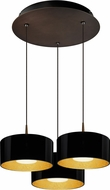 Bruck 240010BZ-3-ELV-223501BZ Cantara Contemporary Bronze / Black Outer/Gold Inner LED Multi Pendant Hanging Light
