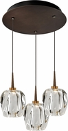 Bruck 240010BZ-3-ELV-223950BZ Aurora Contemporary Bronze / Clear LED Multi Drop Lighting