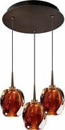 Bruck 240010BZ-3-ELV-223951BZ Aurora Contemporary Bronze / Amber LED Multi Lighting Pendant