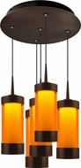 Bruck 240010BZ-5-ELV-223711BZ Silva Modern Bronze / Orange LED Multi Ceiling Pendant Light