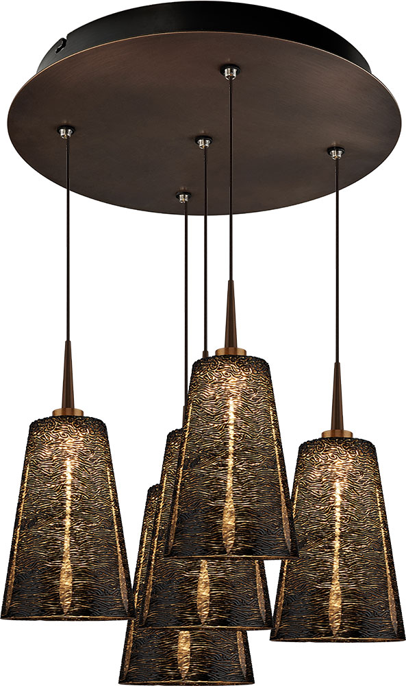 Bruck 240010bz 5 Elv 223843bz Bling Modern Bronze Black Led Multi Pendant Lamp Bru