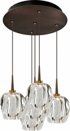 Bruck 240010BZ-5-ELV-223950BZ Aurora Modern Bronze / Clear LED Multi Drop Ceiling Lighting