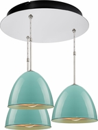 Bruck 240010CH-3-ELV-110903CH Classic Contemporary Chrome / Larkspur Blue Multi Pendant Hanging Light