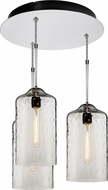Bruck 240010CH-3-ELV-110930CH Delta Contemporary Chrome / Amber Multi Ceiling Light Pendant