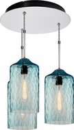 Bruck 240010CH-3-ELV-110931CH Delta Contemporary Chrome / Seafoam Multi Pendant Lighting