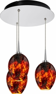 Bruck 240010CH-3-ELV-223337CH Bolero Contemporary Chrome / Autumn Leaf LED Multi Drop Ceiling Light Fixture