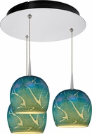 Bruck 240010CH-3-ELV-223932CH Delta Contemporary Chrome / Blue LED Multi Hanging Pendant Lighting