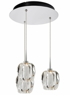 Bruck 240010CH-3-ELV-223950CH Aurora Contemporary Chrome / Clear LED Multi Drop Ceiling Light Fixture