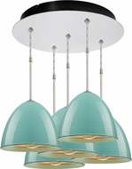 Bruck 240010CH-5-ELV-110903CH Classic Modern Chrome / Larkspur Blue Multi Hanging Light Fixture