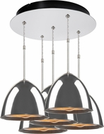 Bruck 240010CH-5-ELV-110905CH Matrix Modern Chrome / Smoky Metal Multi Hanging Light Fixture