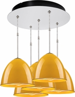 Bruck 240010CH-5-ELV-110906CH Classic Modern Chrome / Canary Yellow Multi Ceiling Pendant Light