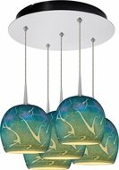 Bruck 240010CH-5-ELV-223932CH Delta Modern Chrome / Blue LED Multi Hanging Pendant Light