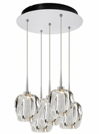 Bruck 240010CH-5-ELV-223950CH Aurora Modern Chrome / Clear LED Multi Drop Lighting Fixture