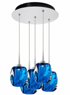 Bruck 240010CH-5-ELV-223952CH Aurora Modern Chrome / Blue LED Multi Pendant Lighting Fixture