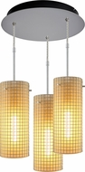 Bruck 240010MC-3-ELV-110114MC Sierra Contemporary Matte Chrome / Amber Multi Hanging Lamp
