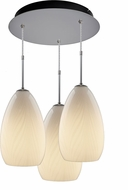 Bruck 240010MC-3-ELV-110920MC Sirena Contemporary Matte Chrome / White Multi Pendant Light Fixture