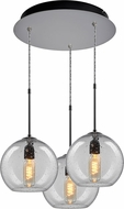 Bruck 240010MC-3-ELV-110970MC Bobo Contemporary Matte Chrome / Clear Multi Pendant Hanging Light
