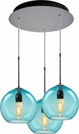 Bruck 240010MC-3-ELV-110971MC Bobo Contemporary Matte Chrome / Aqua Multi Ceiling Light Pendant