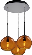 Bruck 240010MC-3-ELV-110972MC Bobo Contemporary Matte Chrome / Amber Multi Pendant Lighting