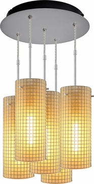 Bruck 240010MC-5-ELV-110114MC Sierra Modern Matte Chrome / Amber Multi Hanging Light