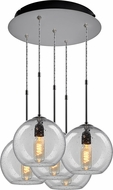 Bruck 240010MC-5-ELV-110970MC Bobo Modern Matte Chrome / Clear Multi Hanging Light Fixture