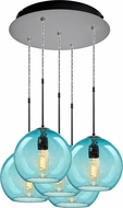 Bruck 240010MC-5-ELV-110971MC Bobo Modern Matte Chrome / Aqua Multi Ceiling Pendant Light
