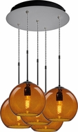 Bruck 240010MC-5-ELV-110972MC Bobo Modern Matte Chrome / Amber Multi Pendant Light