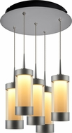 Bruck 240010MC-5-ELV-223713MC Silva Modern Matte Chrome / Smoky LED Multi Pendant Light