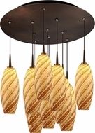 Bruck 240011BZ-11-ELV-223120BZ Ciro Modern Bronze / Sea Shell LED Multi Ceiling Pendant Light