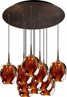 Bruck 240011BZ-11-ELV-223951BZ Aurora Modern Bronze / Amber LED Multi Hanging Light