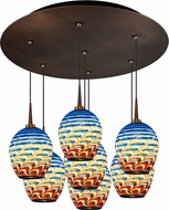 Bruck 240011BZ-7-ELV-223341BZ Bolero Contemporary Bronze / Santa Fe LED Multi Hanging Pendant Lighting