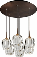 Bruck 240011BZ-7-ELV-223950BZ Aurora Contemporary Bronze / Clear LED Multi Ceiling Light Pendant
