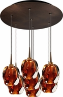 Bruck 240011BZ-7-ELV-223951BZ Aurora Contemporary Bronze / Amber LED Multi Hanging Lamp
