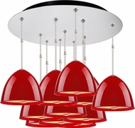 Bruck 240011CH-11-ELV-110902CH Classic Modern Chrome / Gypsy Red Multi Hanging Pendant Light
