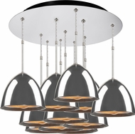 Bruck 240011CH-11-ELV-110905CH Matrix Modern Chrome / Smoky Metal Multi Drop Ceiling Lighting