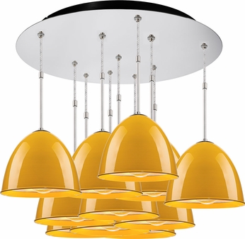 Bruck 240011CH-11-ELV-110906CH Classic Modern Chrome / Canary Yellow Multi Drop Lighting Fixture