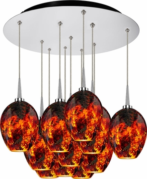 Bruck 240011CH-11-ELV-223337CH Bolero Modern Chrome / Autumn Leaf LED Multi Pendant Light