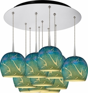Bruck 240011CH-11-ELV-223932CH Delta Modern Chrome / Blue LED Multi Hanging Light Fixture